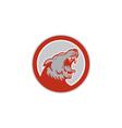 Angry Wolf Wild Dog Head Circle Retro vector image