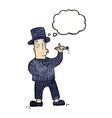 cartoon smoking gentleman with thought bubble vector image