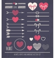 Hearts ropes and arrows vector image