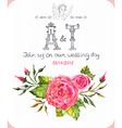 Invitation card with watercolor flowers vector image