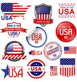 Made in the USA icons and labels vector image