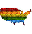 map of usa in colors of lgbt vector image