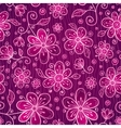 Pink doodle flowers seamless pattern vector image