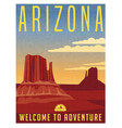 arizona travel poster vector image vector image