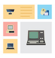 flat icon computer set of notebook pc computer vector image