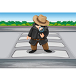 A detective at the pedestrian lane vector image vector image