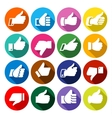 Thumbs up set on round buttons vector image