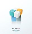 3D Cube Toy Game orange blue and black vector image
