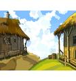 cartoon courtyard with rustic wooden buildings vector image