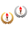 Flaming torch in golden and silver laurel vector image