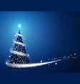 blue christmas tree blizzard snowflakes stars vector image