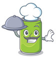 chef with food soft drink character cartoon vector image
