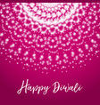 happy diwali greeting card with shine rangoli vector image