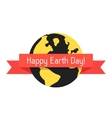 happy earth day with planet and red ribbon vector image