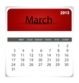 2013 calendar March vector image vector image