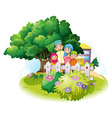 Muslim family in the garden vector image