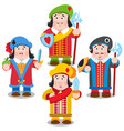 four prince cartoon characters vector image