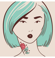 beautiful woman with tattoo hand drawn vector image vector image