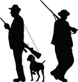Two hunters with rifles vector image vector image