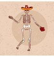 dancing skeleton in sombrero with flower grunge vector image
