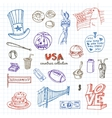 Hand drawn doodle USA symbols set vector image