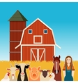 Farm banner with animals and a woman vector image