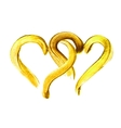 Two hand-drawn gold hearts vector image