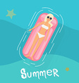 Woman in swim suit lying on floating swimming pool vector image