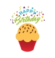 happy birthday celebration card with cupcake vector image