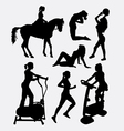 female sport activity silhouette vector image