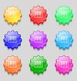 piano key icon sign symbol on nine wavy colourful vector image