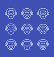 apes line icons set vector image