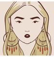 beautiful woman with long hair hand drawn vector image