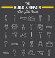 build and repair line icon set construction signs vector image