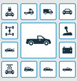 car icons set collection of auto car fixing and vector image