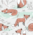 Cute seamless pattern with little foxes vector image