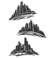 Downtown of modern city gray silhouettes vector image
