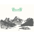 Drawn mountain landscape pine forest lake vector image