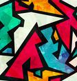 graffiti geometric seamless pattern with grunge vector image
