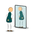 Man see his reflection in the mirror vector image