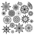 set of black and white doodle flowers element for vector image