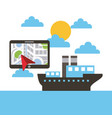 tablet with navigation ship boat ocean landscape vector image