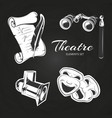theatre symbols set on chalkboard vector image