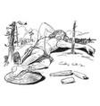 thor stuck under hrungnirs foot vintage vector image