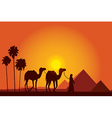 Egypt Great Pyramids on sunset background vector image