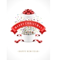Gift box and with red bow ribbon background vector image vector image
