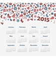 Calendar 2015 year with Christmas pattern vector image