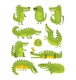 Crocodile Cute Character In Different Poses vector image