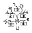 Money tree icon outline style vector image