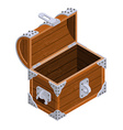 Open chest isometrics Blank Old casket Pirate bag vector image
